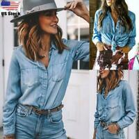 Womens Button Down Denim Shirts Ladies Casual Loose Long Sleeve Blouse Tops