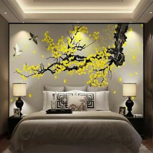Custom Wall Cloth Hand painted Ginkgo Pen Flowers And Birds Chinese Fashionable