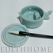 Rare Calligraphy Tool- Light Blue Porcelain Ink Pot with Cover & Brush Rest 1set