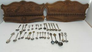 Lot of 31 Assorted Souvenir Mini Collectible Novelty Spoons  & 2  Wood Holders
