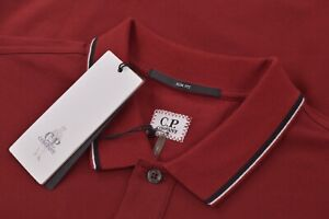 C.P. Company NWT Polo Shirt Short Sleeve Size L In Red With Black & White Slim