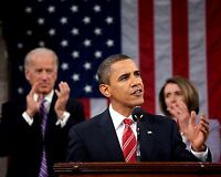 PRESIDENT BARACK OBAMA DELIVERS 2010 STATE OF THE UNION 8X10 PHOTO EE-032