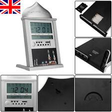 Azan Athan Alarm Wall Clock Islamic Muslim Prayer LCD Display Silver UK Seller