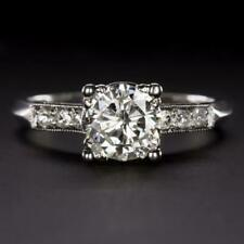 950 Platinum 1CT Round cut Diamond Engagement Wedding Ring
