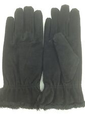 Women's ISOTONER Signature Brand Black Suede LEATHER Gloves - size M - $40 MSRP
