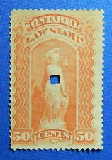 1870 50c CANADA ONTARIO LAW REVENUE VD# OL52 B# 7 USED                   CS31952
