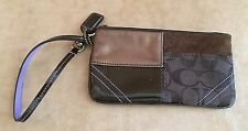Coach Wristlet Gallery zip top pouch patchwork wallet womens leather canvas logo
