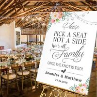 Personalised Wedding Pick a Seat not a Side Sign  A1 / A2 / A3 Sizes-WHITE