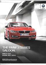 BMW 3 SERIES SALOON PRICE LIST CAR  BROCHURE JULY 2014