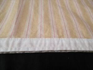 Ralph Lauren San Luca Stripe Queen Flat Sheet Beige Red Cream Cotton Sateen