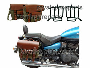 Royal Enfield Meteor 350 Leather & Canvas Bag Olive Color & Mounting Fitting