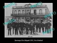 OLD LARGE HISTORIC PHOTO OF TAURANGA FIRE BRIGADE CREW, 1911 NEW ZEALAND
