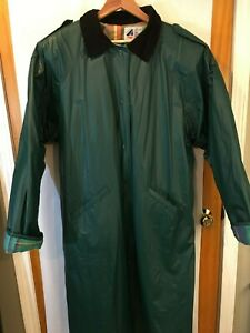 MISTY HARBOR Vintage Long RAINCOAT Trench Coat Mens Size 2x Green plaid lining
