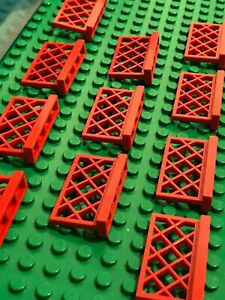 LEGO 10 x RED Fence 1 x 4 x 2 Gate for House, Garden or Railway Track