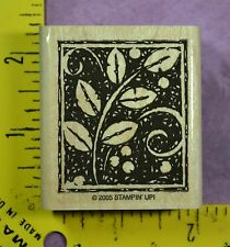 STEM & BERRIES WOODCARVING leaves in frame Stampin' Up! rubber stamp #3072