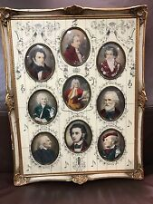 Antique 19c French miniature watercolor on celluloid Mozart beethoven schubert