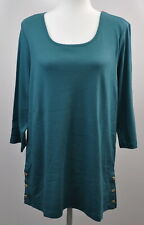 Denim & Co. Essential Size Large Scoop-Neck 3/4-Sleeve Tunic Shirt Top Peacock