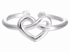 925 silver heart knot love one size adjustable ring jewellery present gift