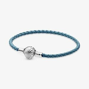 Original S925 Silver Seashell Clasp Turquoise Braided Leather Bracelet