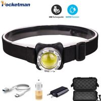 60000LM COB LED Headlamp USB Rechargeable Headlight Head Lamp White Red Lighting