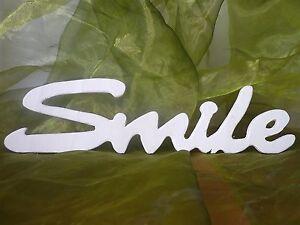 Schriftzug Smile Lachen Lächeln Dekoration Sperrholz / Holz