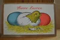 C 1915 Hatching Chick With Colored Eggs - Happy Easter Postcard