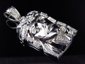 "Genuine Pave White Diamond Jesus Piece Charm In White Gold Finish 1.5"" (0.65Ct)"