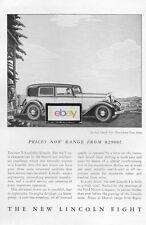 LINCOLN MOTOR CARS 1932 V-8 2 WINDOW TOWN SEDAN AD
