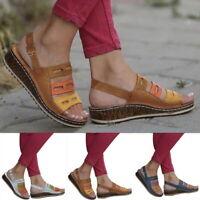 Summer Women Ladies PU Leather Shoes Sandals Casual Shoes Flop Platform Sandals