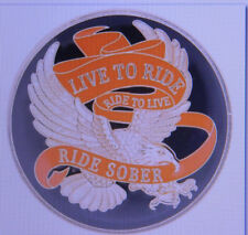 SOBRIETY MEDALLION - RIDE TO LIVE - LIVE TO RIDE - RIDE SOBER - ENAMELED