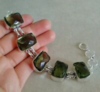 """NATURAL CUSHION CUT GREEN AMETHYST 925 STERLING SILVER LINK CHAIN BRACELET 7.75"""""""