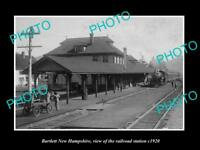 OLD LARGE HISTORIC PHOTO OF BARTLETT NEW HAMPSHIRE RAILROAD STATION c1920