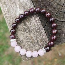 Rojo Granate y Cristales Con cuentas Pulsera de Cuarzo Rosa Piedras Joyas