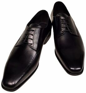 Men's Ronaldo Solid Black Italian Premium Leather Bike Stitch Oxford Dress Shoes