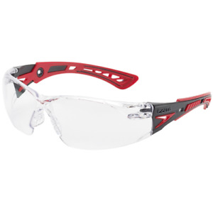 Bolle Rush Plus Safety Glasses Black/Red Temples Clear Anti-Fog Lens 41080