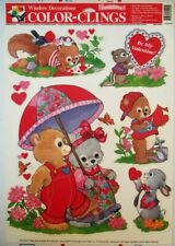 Vintage Woodland Creatures Color Clings Window Decorations Furry NIP Valentine's