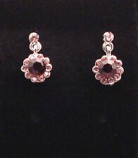 Plum Crystal Earrings stud mini drop/dangle purple jewelry