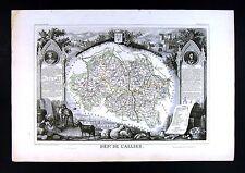 1852 Levasseur Antique France Map Department de L'Allier Moulins Gannat Bourbon