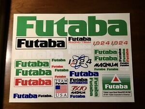 Vintage Team Futaba Decal Sticker Sheet RC Car Racing Magnum FX10 PCM1024 Racing
