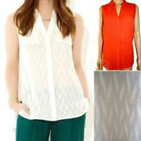 New Ex MONSOON Ladies Sleeveless Cotton Summer Top Size 10 - 24 Orange Ivory