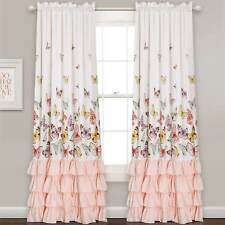 Pink Curtains Girls Ruffle Panels Set Bedroom Drape Window Covering Treatment