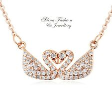 18K Rose Gold Filled Simulated Diamond Girl Woman Eternal In Love Swan Necklace