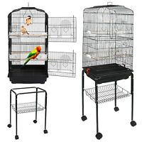 59''H Rooling Bird Cage Cockatiel Parakeet Finch Canary Home with Stand & Tray