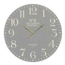 Grigio 60 cm grande classico vintage chic rotondo MDF NUOVO RUSTIC HOME Tempo Orologio da parete