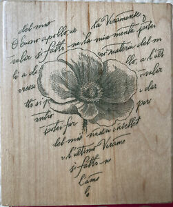 Hero Arts Poppy Heart Print Wood Mounted Rubber Stamp Flower Writing