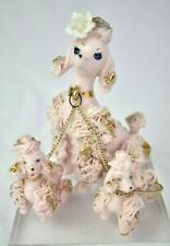 Cute Vintage Kitsch 1950s Ceramic Spaghetti Pink Poodle & Puppies Japan Ornament