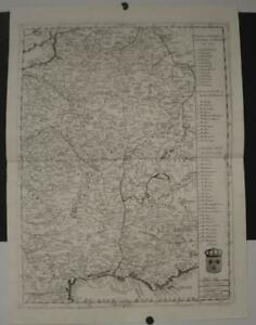 FRANCE KINGDOM OF FRANCE 1690 CORONELLI UNUSUAL ANTIQUE COPPER ENGRAVED MAP