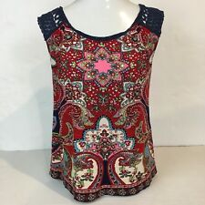 Bila Womens Small Sleeveless Top Blouse Floral Print Sequins Rayon Lace