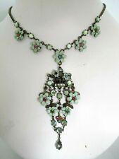 Designer MICHAL NEGRIN Floral Necklace Swarovski Crystals Signed Antique Style