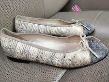 CHANEL Ballerinas Lizard Leather Cap Toe Flats Ballet Shoes Ivory Pumps G02819